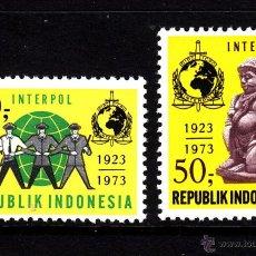 Sellos: INDONESIA 662/63** - AÑO 1961 - ANIVERSARIO DE INTERPOL. Lote 43969414