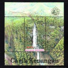 Sellos: INDONESIA HB 86** - AÑO 1993 - ORGANIZACION MUNDIAL DEL TURISMO - PAISAJES - CASCADA DE SIGURA-GURA. Lote 43969484