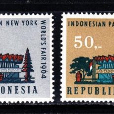 Sellos: INDONESIA 390/91* - AÑO 1964 - EXPOSICIÓN INTERNACIONAL DE NUEVA YORK. Lote 48727357