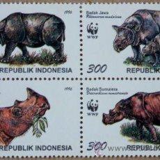Sellos: INDONESIA 1996 WWF RINOCERONTE EN BLOQUE 4 NUEVO LUJO MNH *** SC. Lote 207732068