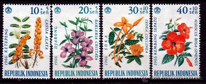 Sellos: INDONESIA 1966. SERIE. FLORES. **,MNH - Foto 1 - 52283699