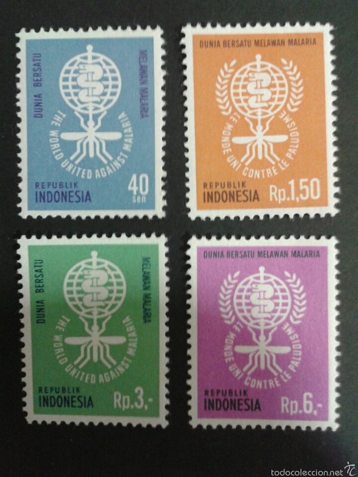 SELLOS DE INDONESIA. MEDICINA. MALARIA. YVERT 279/82. SERIE COMPLETA NUEVA SIN CHARNELA. (Sellos - Extranjero - Asia - Indonesia)