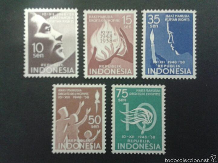 SELLOS DE INDONESIA. DERECHOS HUMANOS. YVERT 178/82. SERIE COMPLETA NUEVA SIN CHARNELA. (Sellos - Extranjero - Asia - Indonesia)