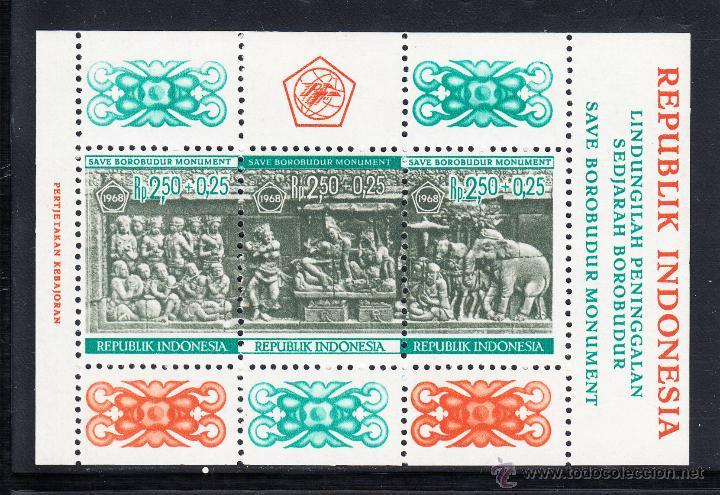 INDONESIA HB 10** - AÑO 1968 - ARQUEOLOGIA - PROTECCION DE LOS MONUMENTOS DE BOROBUDUR (Sellos - Extranjero - Asia - Indonesia)