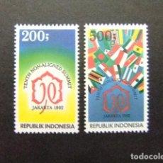 Sellos: INDONESIA INDONÉSIE 1992 10º SOMME DES PAYS NON-ALIGNÉS À DJAKARTA YVERT 1307 / 08 ** MNH. Lote 77827025