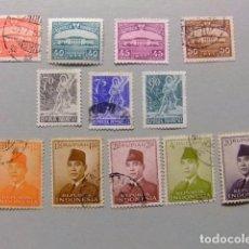 Sellos: INDONESIA INDONÉSIE 1953 CORRIENTE YVERT 53 / 71 º FU INCOMPLETA. Lote 80326341