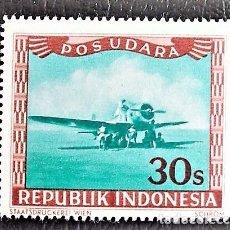 Sellos: INDONESIA . AVIÓN. VALOR: 30 S. 1949. SELLOS NUEVOS IMPRESOS EN VIENA.. Lote 89374212