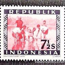 Sellos: INDONESIA . PLANTANDO ARROZ. VALOR: 7 1/2 S. 1949. SELLOS NUEVOS IMPRESOS EN VIENA.. Lote 89374472