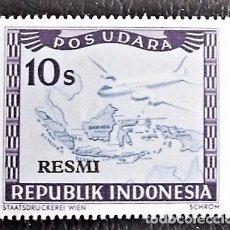 Sellos: INDONESIA . AVIÓN Y MAPA, SOBRECARGA: RESMI. VALOR: 10 S. 1949. SELLOS NUEVOS IMPRESOS EN VIENA.. Lote 89374868