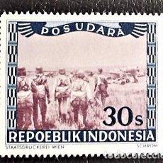 Sellos: INDONESIA . AVIONES Y PARACAIDISTAS. VALOR: 30 S. 1949. SELLOS NUEVOS IMPRESOS EN VIENA.. Lote 89375040