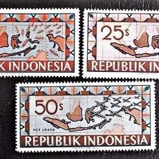 Sellos: INDONESIA . MAPA DE INDONESIA CON BUQUES Y AVIONES. VALORES DE 10, 25 Y 50 S. 1949 SELLOS NUEVOS IMP. Lote 89375092