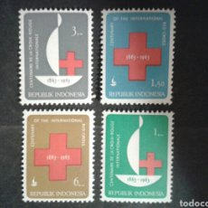 Sellos: INDONESIA. YVERT 338/41. SERIE COMPLETA NUEVA SIN CHARNELA. CRUZ ROJA. Lote 103810338
