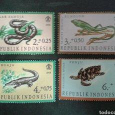 Sellos: INDONESIA. YVERT 494/7. SERIE COMPLETA NUEVA CON CHARNELA. FAUNA. REPTILES. Lote 103810383