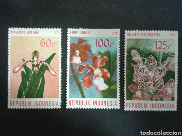 INDONESIA. YVERT 832/4. SERIE COMPLETA NUEVA CON CHARNELA. FLORA. FLORES (Sellos - Extranjero - Asia - Indonesia)