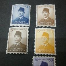 Sellos: SELLOS DE REPUBLICA INDONESIA NUEVOS. 1951. PRESIDENTE SUKAMO. PERSONALIDADES. RETRATO. UNIFORME. Lote 107600280