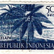 Sellos: 1960 - INDONESIA - CULTURAS DIVERSAS - KELAPA - COCOTEROS - YVERT 220. Lote 115445763