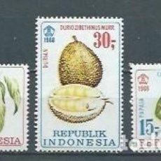 Sellos: INDONESIA,1968,PLANTAS Y FRUTOS,NUEVOS,MNH**,YVERT 551-553. Lote 123299094