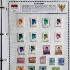 Sellos: INDONESIA, 2 HOJAS CON 30 SELLOS USADOS DIFERENTES CON CHARNELAS, VER FOTOS . Lote 126628875