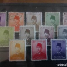Sellos: INDONESIA 1951/53, PRESIDENTE SUKARNO. Lote 134264058