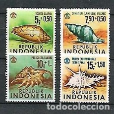Sellos: INDONESIA,1969,CONCHAS ,YVERT 586-589,NUEVOS, MNH**. Lote 142333974