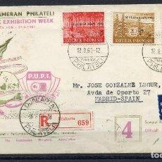 Sellos: INDONESIA, SOBRE, PEKAN PAMERAN PHILATELI, INDONESIA, ESPAÑA, 1961, STAMP. Lote 149373122