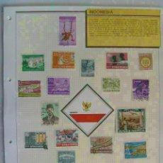 Sellos: LOTE DE 17 SELLOS DE INDONESIA ( SUKARNO, ETC ) EN HOJA CON BANDERA DEL PAIS.. Lote 149417998