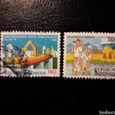 Sellos: INDONESIA. YVERT 1082/3 SERIE COMPLETA USADA. PLAN QUINQUENAL. Lote 153158749