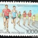 Sellos: 1993. DEPORTES. INDONESIA. 1317 / 1319. ATLETISMO. DEPORTE POPULAR. SERIE CORTA. NUEVO.. Lote 159115090