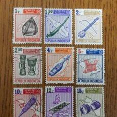 Sellos: INDONESIA INSTRUMENTOS MUSICALES, MÚSICA 1967,USADOS. Lote 188582456