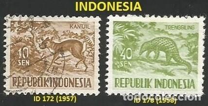 INDONESIA 1957 Y 1958 - 2 SELLOS USADOS - TEMA ANIMALES (Sellos - Extranjero - Asia - Indonesia)