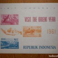 Sellos: HOJITA - SELLOS - REPÚBLICA DE INDONESIA - AÑO 1961 - NUEVOS - VISIT - ORIENT YEAR. Lote 203957438