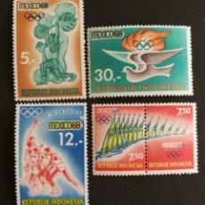 Sellos: INDONESIA, MEJICO JJ. OO 1968 MNH(FOTOGRAFÍA REAL). Lote 207636560
