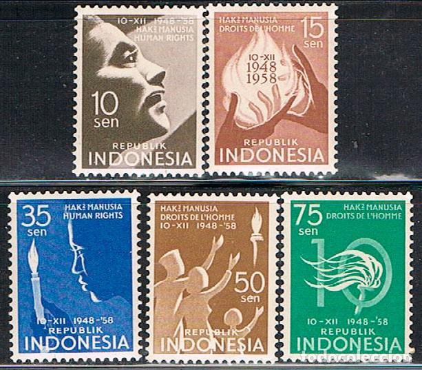 INDONESIA Nº 263/7, 10 º ANIVº DE LA DECLARACION DE LOS DERECHOS HUMANOS, NUEVO CON SEÑAL SERIE COMP (Sellos - Extranjero - Asia - Indonesia)