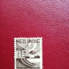 Sellos: INDIAS HOLANDESAS - INDONESIA - VALOR FACIAL 2 CENT - PAISAJE LITORAL. Lote 221999122
