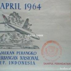 Sellos: INDONESIA REPUBLIK,2. SOBRE. 9 ABRUIK 1964.PAMERAN PERANGKO PENERGANGAN NASIONAL.. Lote 222337421