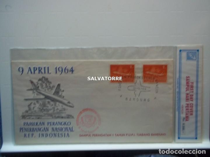 Sellos: INDONESIA REPUBLIK,2. SOBRE. 9 ABRUIK 1964.PAMERAN PERANGKO PENERGANGAN NASIONAL. - Foto 2 - 222337421