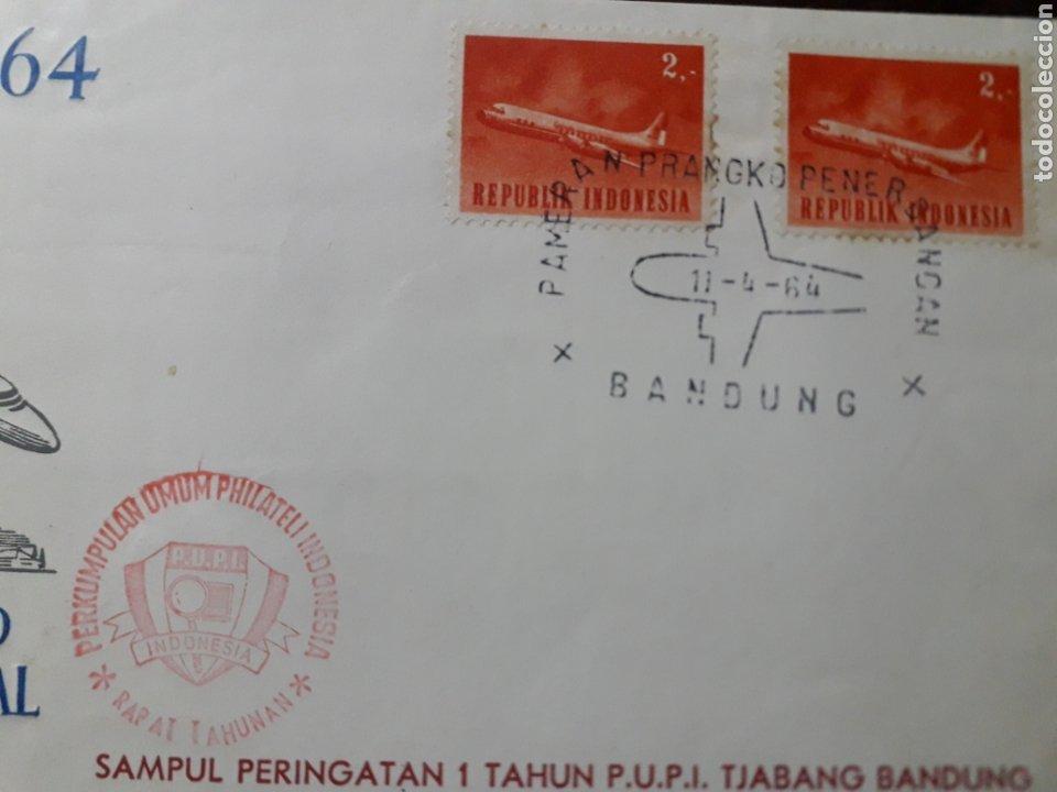 Sellos: INDONESIA REPUBLIK,2. SOBRE. 9 ABRUIK 1964.PAMERAN PERANGKO PENERGANGAN NASIONAL. - Foto 4 - 222337421