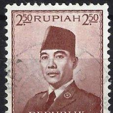 Selos: INDONESIA 1953 - PRESIDENTE SUKARNO - USADO. Lote 222791110