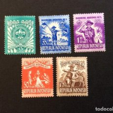 Sellos: INDONESIA Nº YVERT 92/6** AÑO 1955. SCOUTS. SERIE CON CHARNELA. Lote 222844315