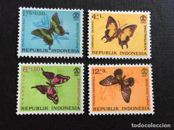 INDONESIA Nº YVERT 359/2*** AÑO 1963. MARIPOSAS (Sellos - Extranjero - Asia - Indonesia)
