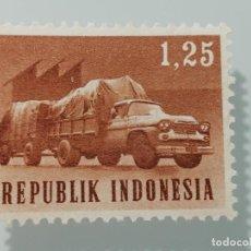 Sellos: SELLO DE INDONESIA DE 1964- CAMION CON REMOLQUE- YVERT 378. Lote 225872970