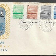 Sellos: INDONESIA, CENTENARIO DEL TELÉGRAFO, 1957, SOBRE DE PRIMER DÍA, COMPLETA, YVERT 142-146. Lote 226014860