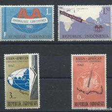 Sellos: INDONÉSIE N°334/37** (MNH) 1963 - CONFÉRENCE DES JOURNALISTES AFRO-ASIATIQUE, À DJAKARTA. Lote 229964460