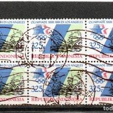 Sellos: INDONESIA / INDONÉSIE / SELLOS EN BLOQUE DE 6 USADO. Lote 232375655