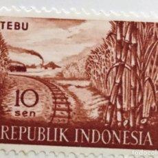 Sellos: SELLO DE INDONESIA 10 SEN - 1960 - CAÑA DE AZUCAR - NUEVO SIN SEÑAL DE FIJASELLOS. Lote 247743775