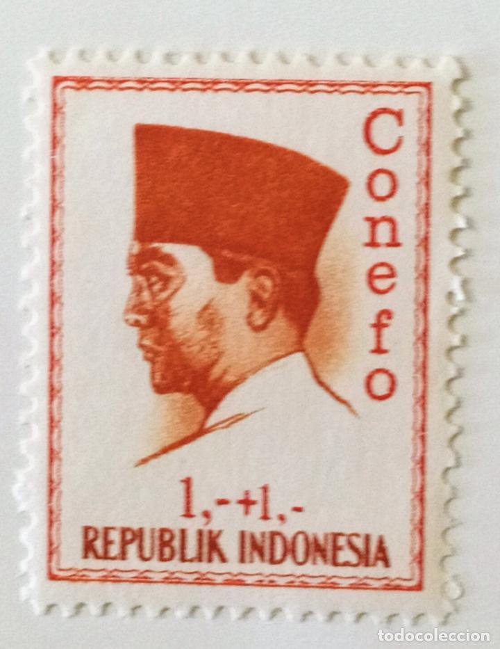 SELLO DE INDONESIA 1 + 1 - 1965 - CONEFO SUKARNO - NUEVO SIN SEÑAL DE FIJASELLOS (Sellos - Extranjero - Asia - Indonesia)