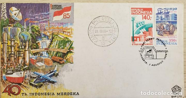 O) 1985 INDONESIA, FERIA COMERCIAL, ENERGÍA, PRESA, PLANTA HIDROELÉCTRICA, PLANTA INDUSTRIAL AGRÍCOL (Sellos - Extranjero - Asia - Indonesia)