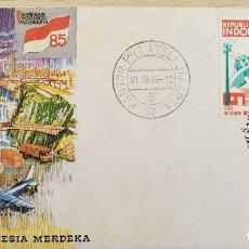 Sellos: O) 1985 INDONESIA, FERIA COMERCIAL, ENERGÍA, PRESA, PLANTA HIDROELÉCTRICA, PLANTA INDUSTRIAL AGRÍCOL. Lote 255455585