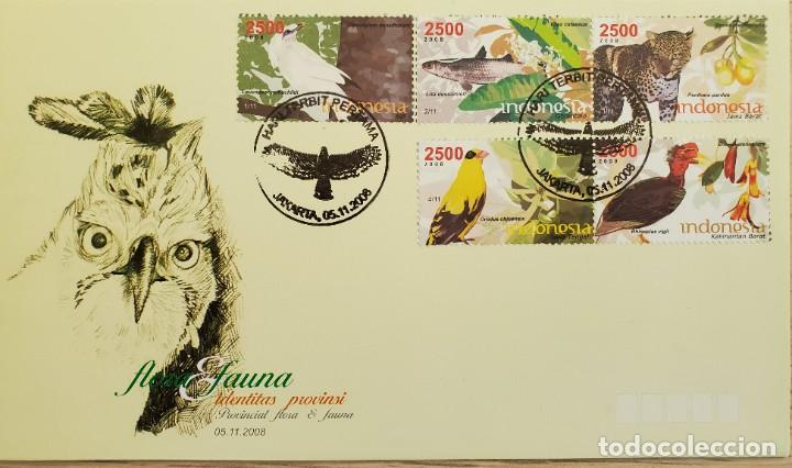 O) 2008 INDONESIA, PANTHERA PARDUS, AVES, LEUCOPSAR, ORIOLUS, RHINOPLAX, PESCADO LIZA, FLORA Y FAUNA (Sellos - Extranjero - Asia - Indonesia)