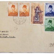 Sellos: O) 1963 INDONESIA, ESCENAS DE RAMAYANA BALLET, K. H. ACHMAD DAHLA, PRESIDENTE SUKARNO, CIRCULADO DE. Lote 255649285